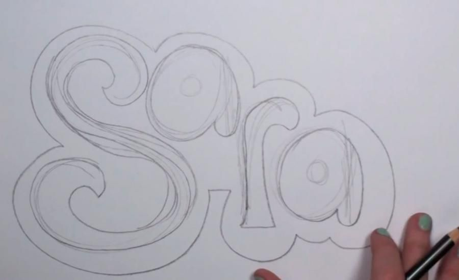 How to draw the word Love in a 3D pencil step by step 3