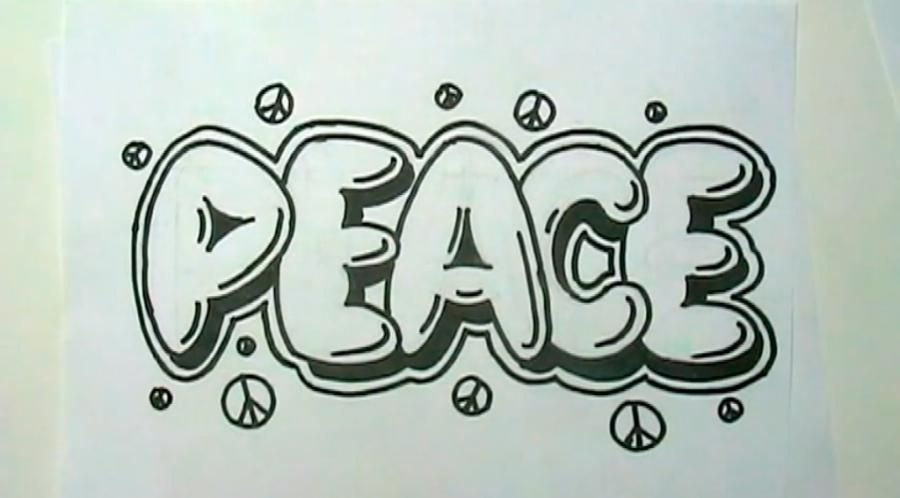 How to draw the word Peace on paper with a pencil step by step