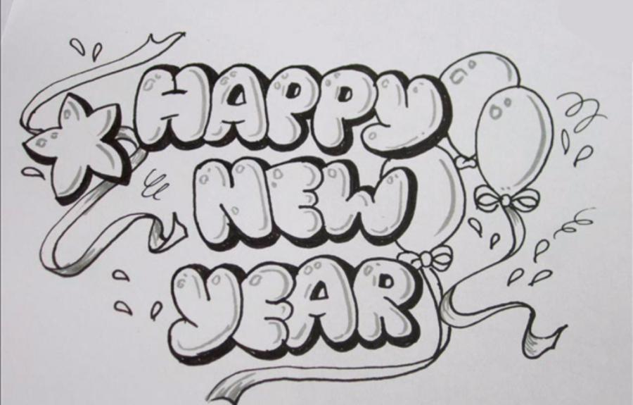 How to draw the word Happy New Year with a pencil step by step