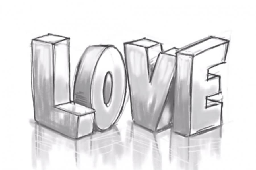 How to draw the word Love in a 3D pencil step by step