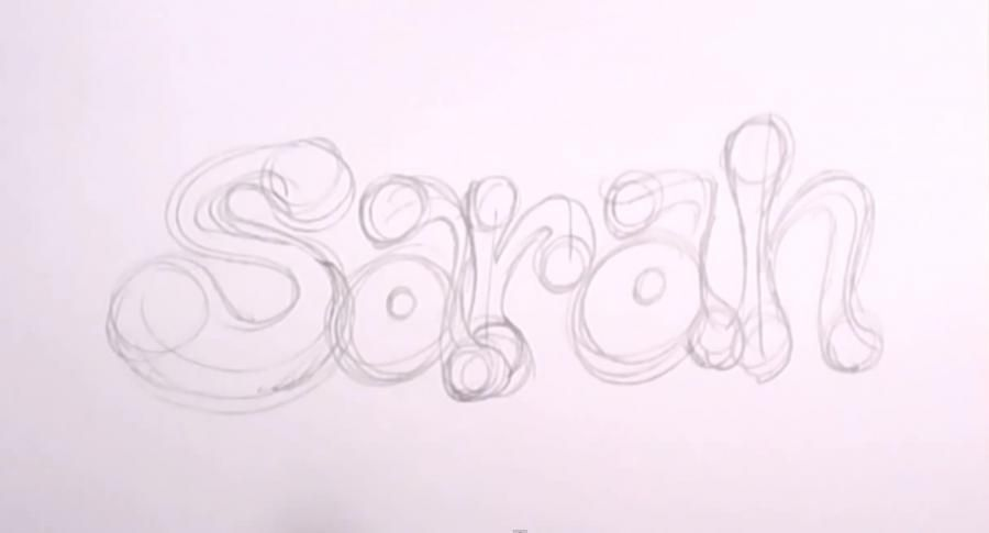 How to draw the name Alexia with a pencil on paper step by step 2