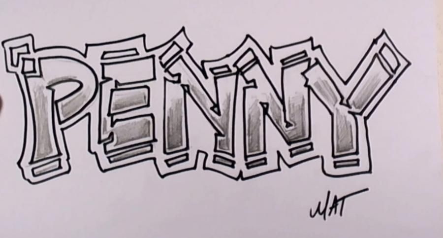 How to draw graffiti the name Penny with a pencil step by step