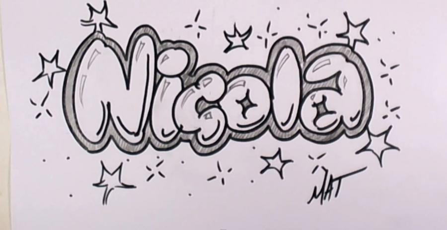 As it is beautiful to draw the name Nicola with a pencil step by step