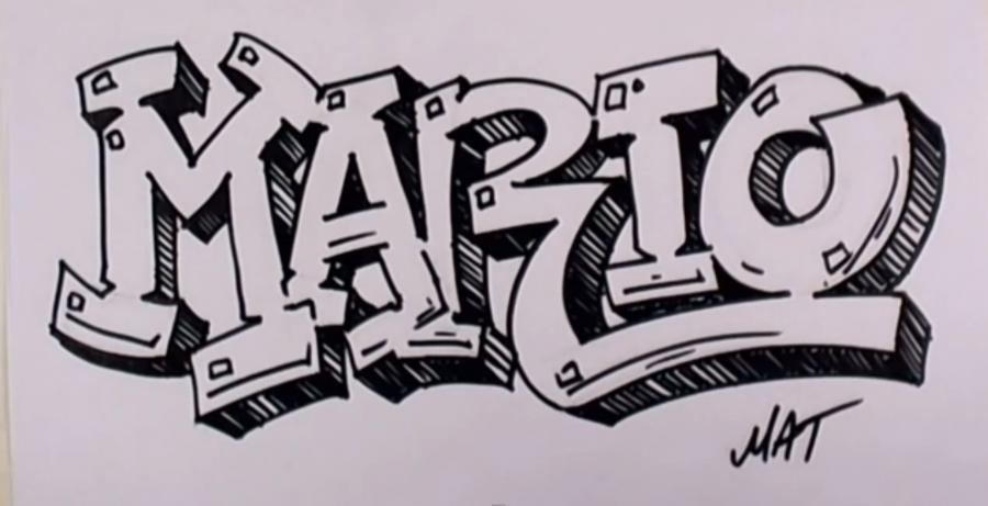 How to draw the word Mario in style of graffiti with a pencil step by step