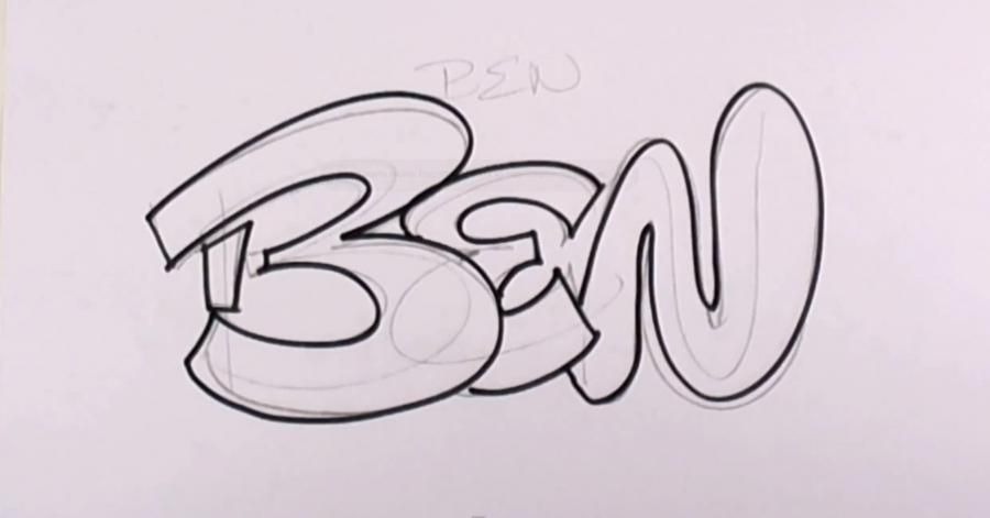 How to draw the word Sophie in style of graffiti with a pencil 3