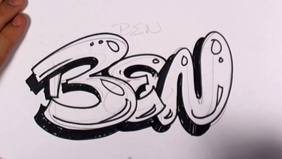 How to draw the word Sophie in style of graffiti with a pencil 4
