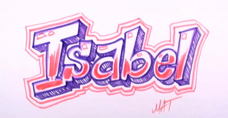 How to draw the name Isabel (Isabel) with a pencil step by step