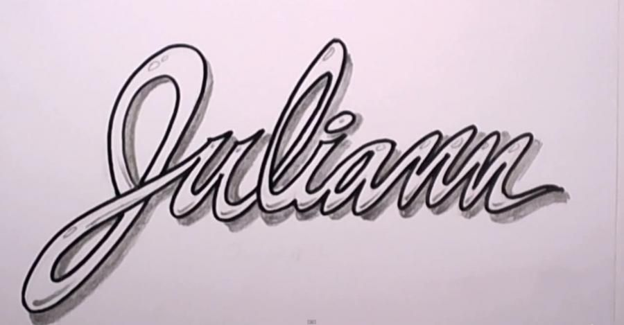 How to draw the name Juliann with a pencil step by step