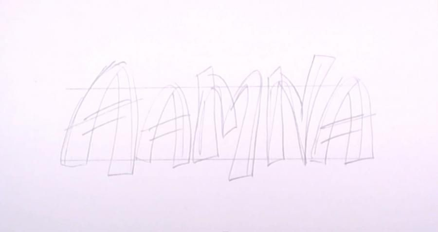 How to draw the name Jamal on paper with a pencil step by step 2