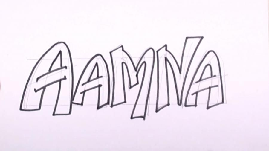 How to draw the name Jamal on paper with a pencil step by step 3