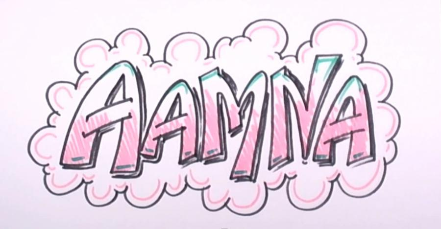 How to draw the word Aamna on paper with a pencil step by step