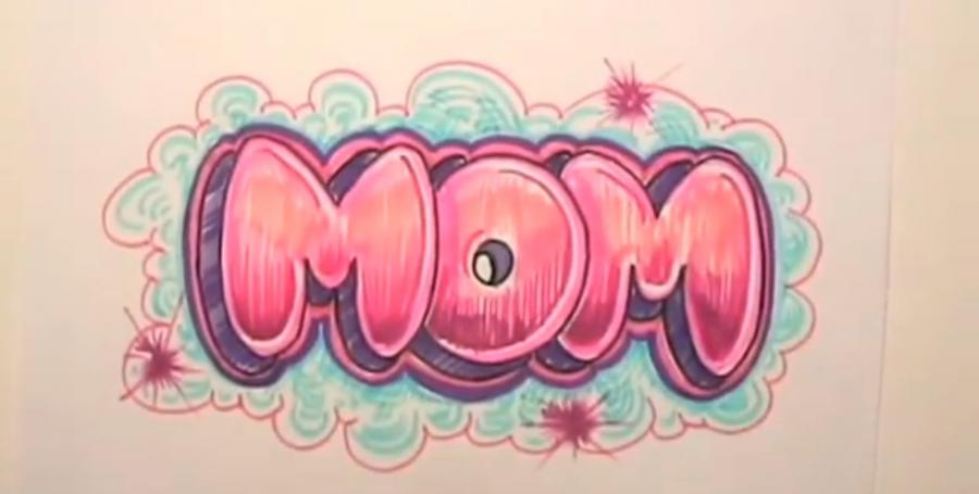 As it is beautiful to draw the word MOM on paper step by step