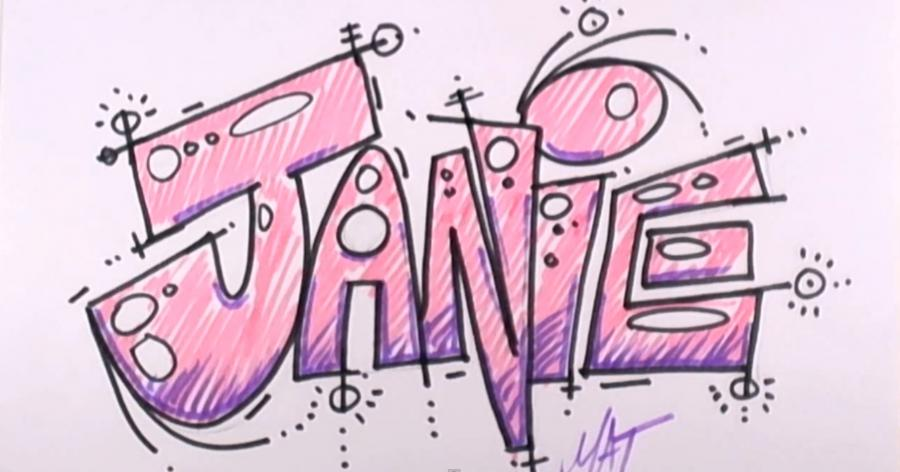 How to draw the name Janie with a pencil step by step
