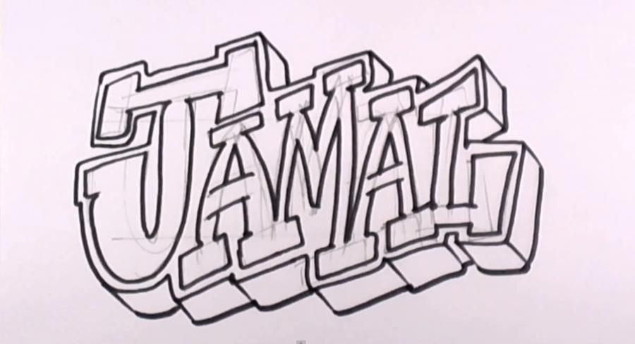 how to draw graffiti names step by step on paper
