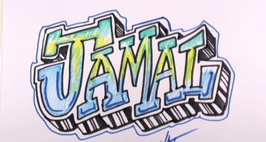 How to draw the name Jamal on paper with a pencil step by step