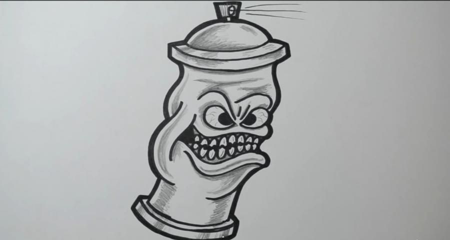 How to draw a barrel in style of graffiti with a pencil step by step