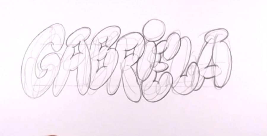 How to draw the name Briana in style of graffiti with a pencil step by step 2