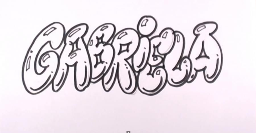 How to draw the name Briana in style of graffiti with a pencil step by step 4