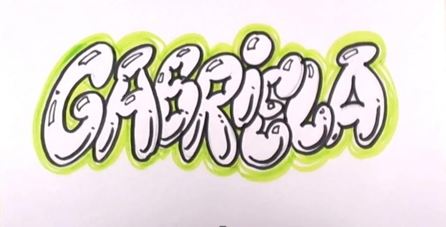 How to draw the name Briana in style of graffiti with a pencil step by step 5