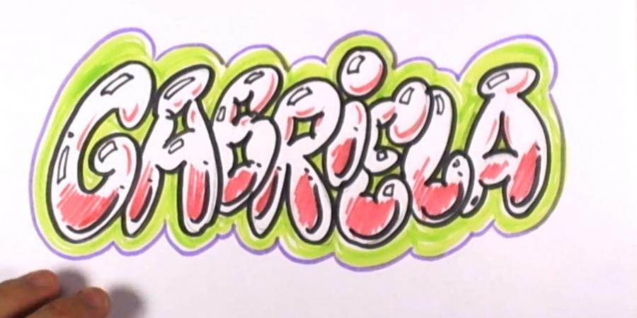 How to draw the name Briana in style of graffiti with a pencil step by step 6