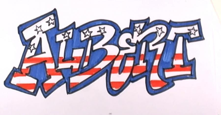 How to draw graffiti the name Albert on paper with a pencil step by step