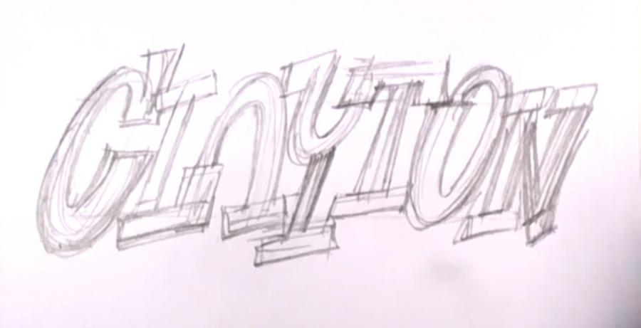 How to draw the word graffiti with a pencil on paper step by step 2