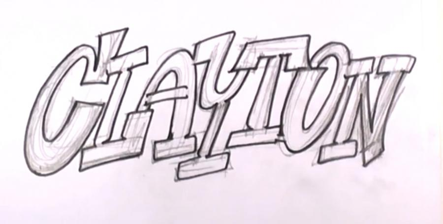 How to draw the word graffiti with a pencil on paper step by step 3