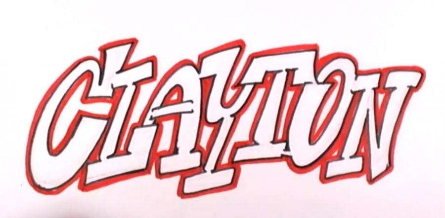 How to draw the word graffiti with a pencil on paper step by step 4