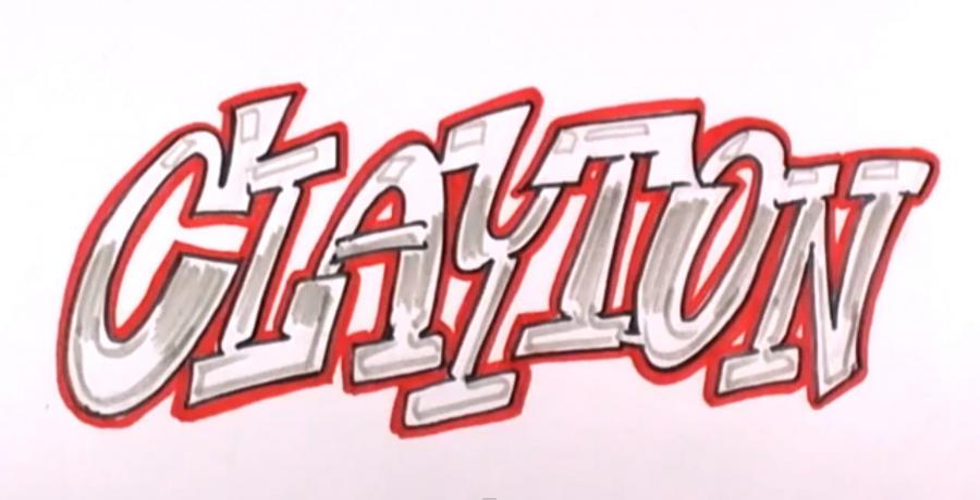 How to draw the word graffiti with a pencil on paper step by step 5