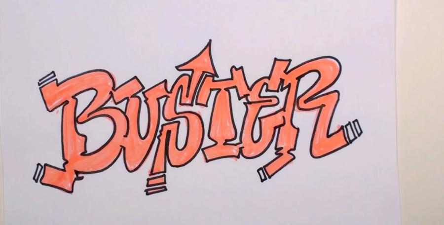 How to draw the word freestyle in style of graffiti with a pencil step by step 3