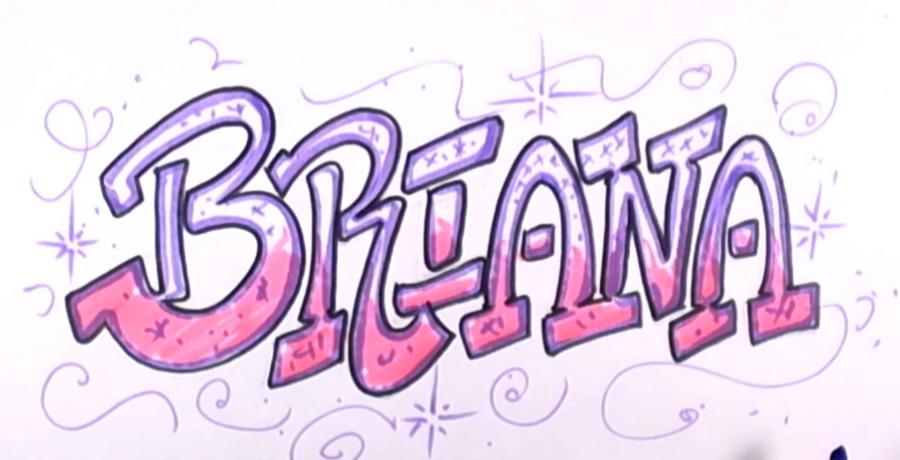 How to draw the name Briana in style of graffiti with a pencil step by step