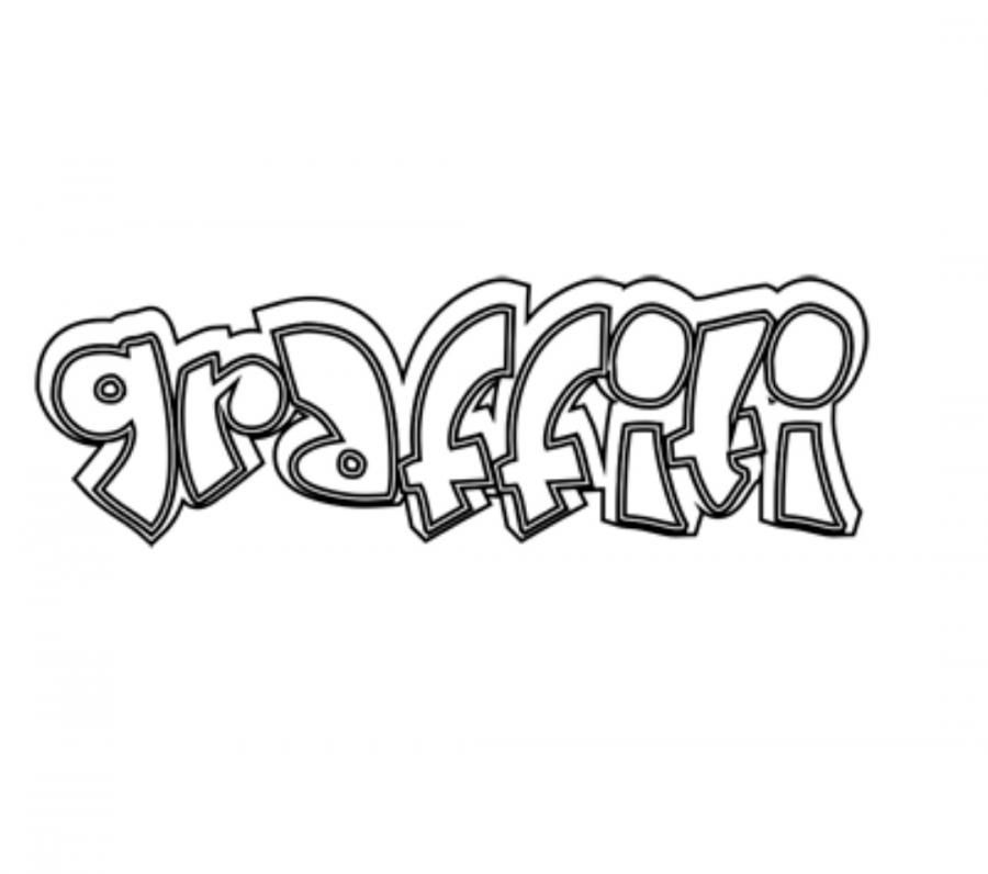 How to draw the word graffiti with a pencil on paper step by step