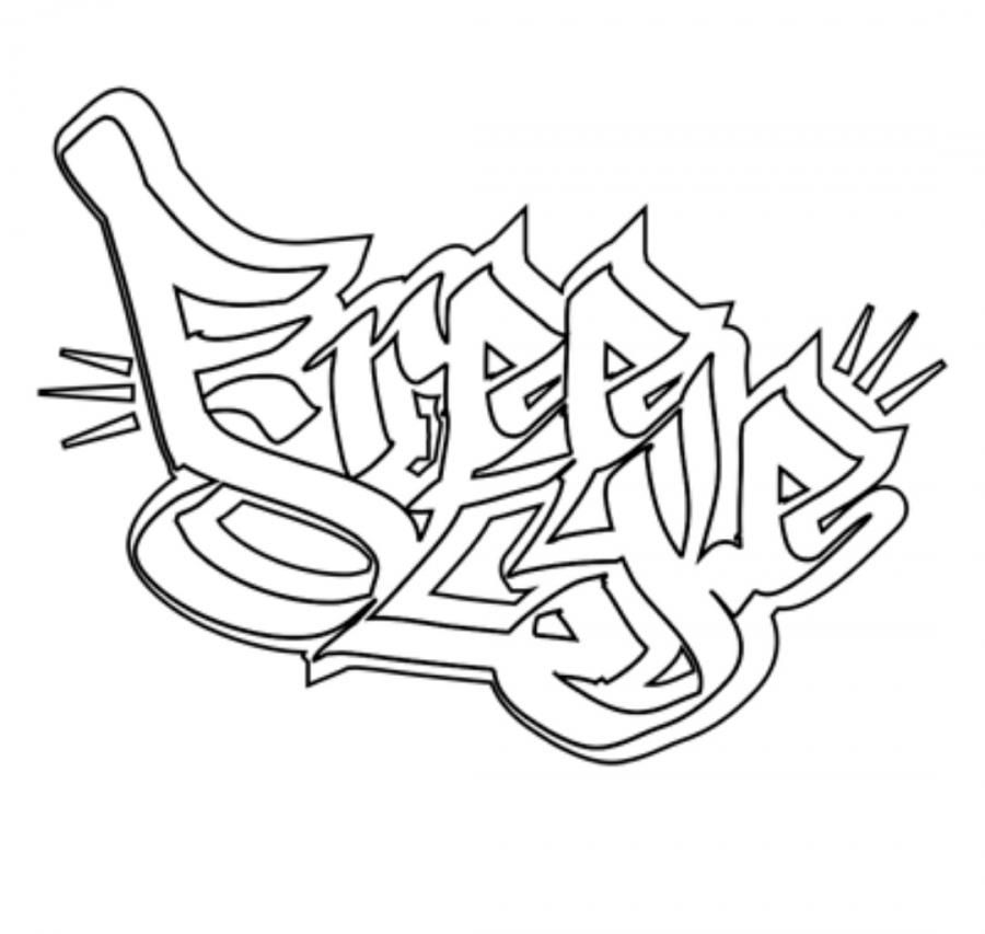 Comme dessiner le mot freestyle ? la fa?on des graffiti par le crayon progressivement
