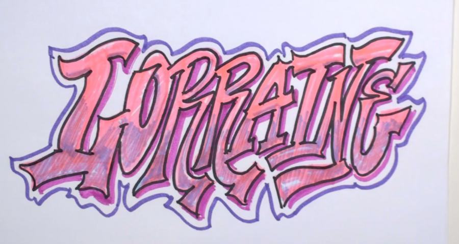 As it is beautiful to draw the word Lorraine with a pencil or a felt-tip pen