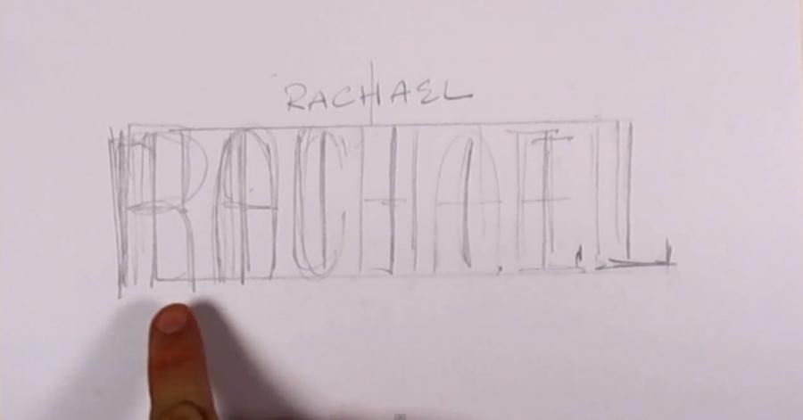 How to draw the name Valentina with a pencil on paper step by step 2