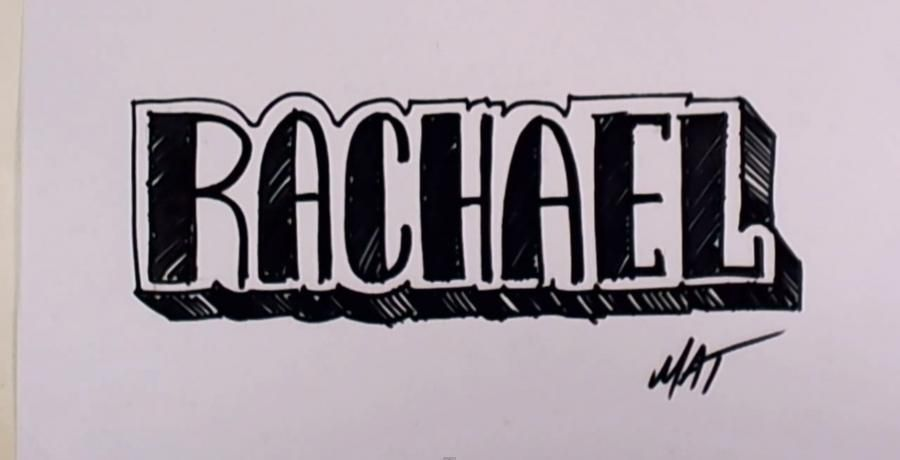 How to draw the name Rachel on paper step by step