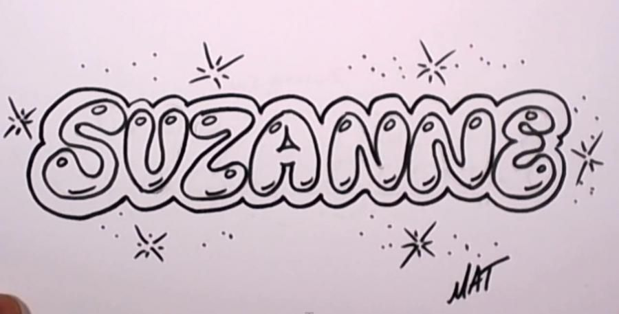 As it is beautiful to draw the word Suzanne with a pencil