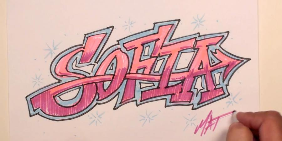 How to draw the name Sofia with pencils or felt-tip pens step by step