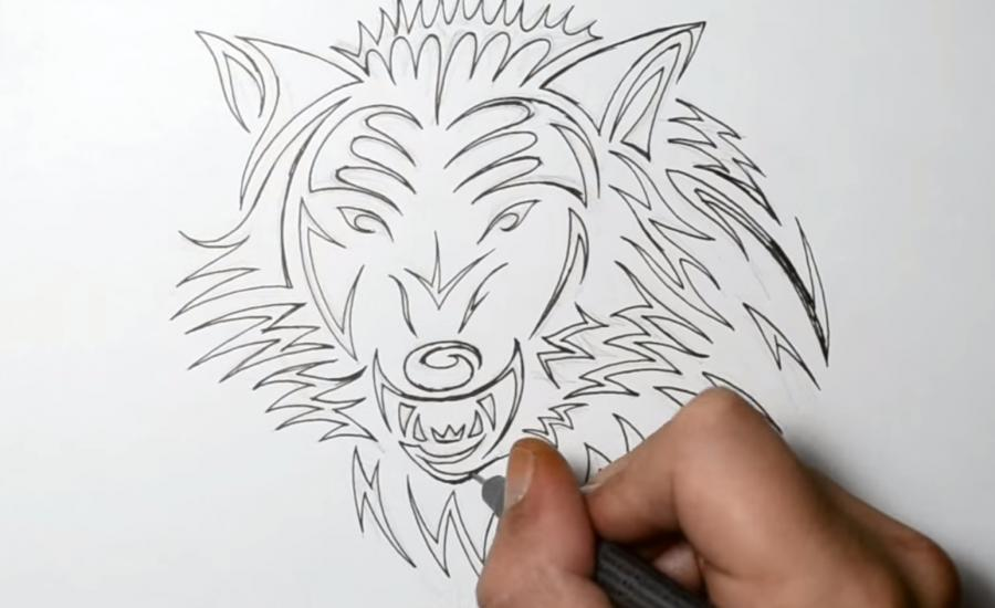 How to learn to draw a horse tattoo on paper step by step 5