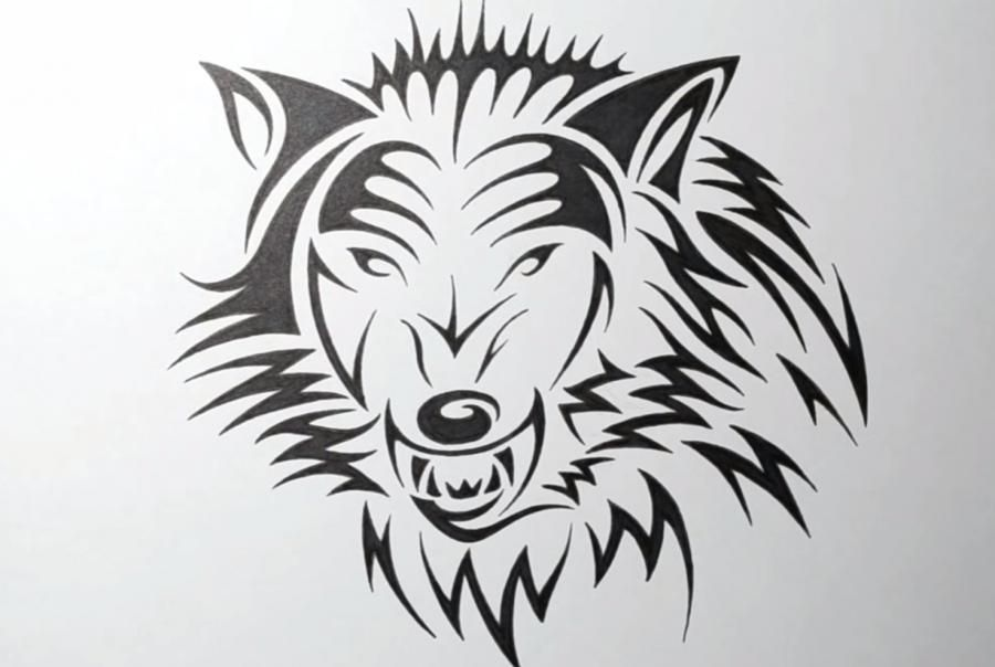 How to draw a tattoo of an angry wolf step by step