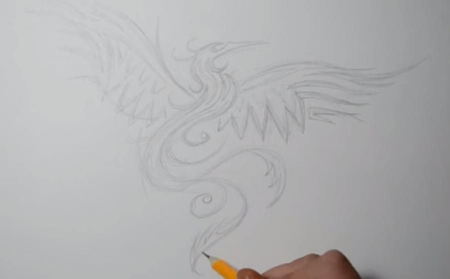 How to draw the mermaid in style of a tattoo on paper step by step 2