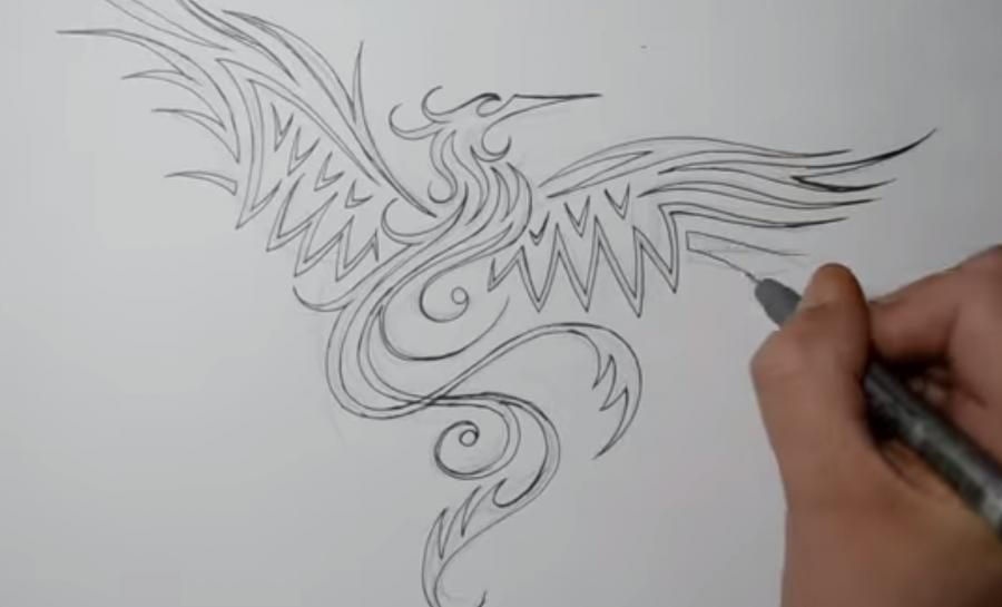 How to draw the mermaid in style of a tattoo on paper step by step 3