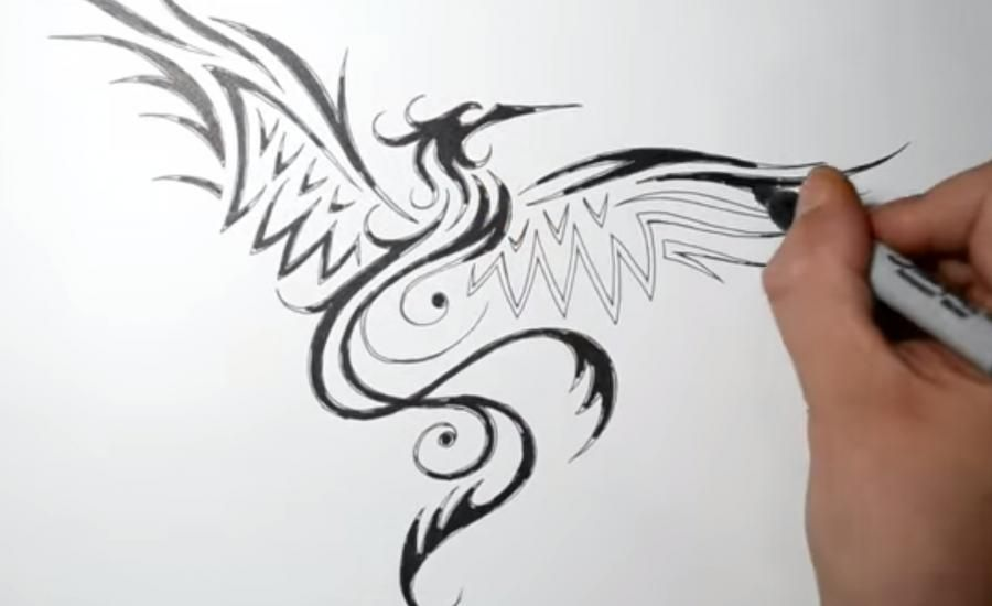 How to draw the mermaid in style of a tattoo on paper step by step 4