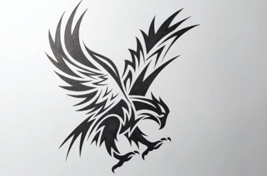 We learn to draw a tattoo of an eagle on paper step by step