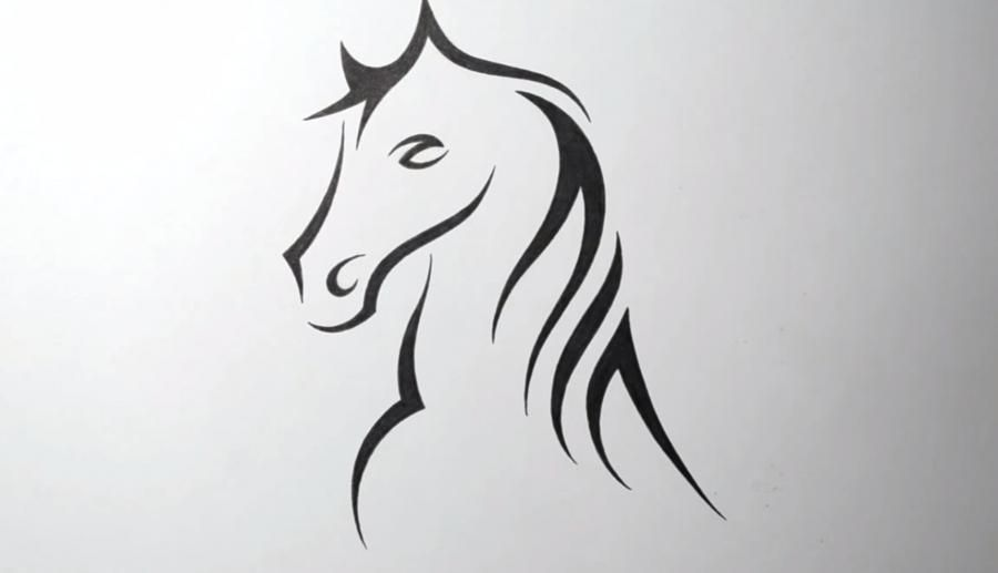 How to learn to draw a horse tattoo on paper step by step