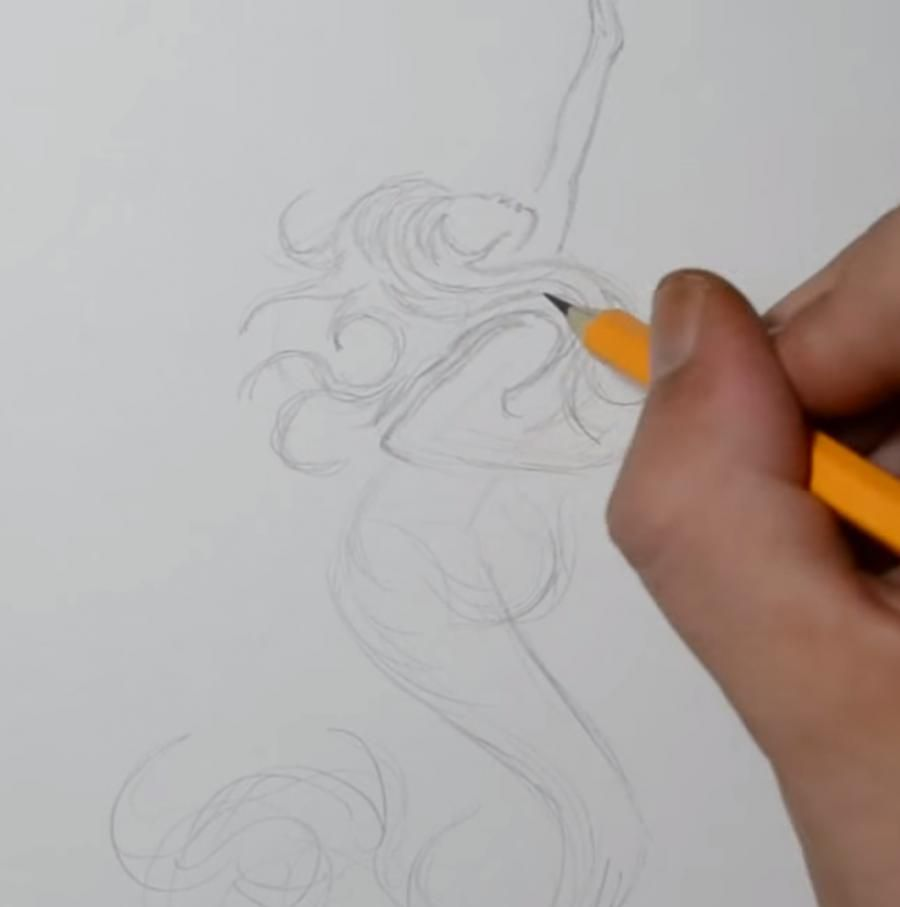 How to draw with a pencil a tattoo: a note with wings step by step 2