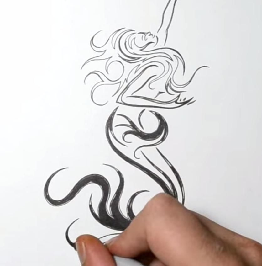 How to draw with a pencil a tattoo: a note with wings step by step 4