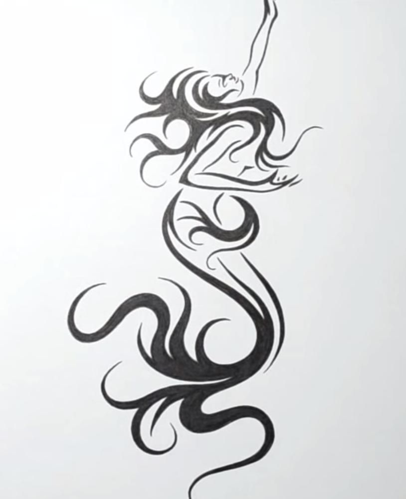 How to draw the mermaid in style of a tattoo on paper step by step