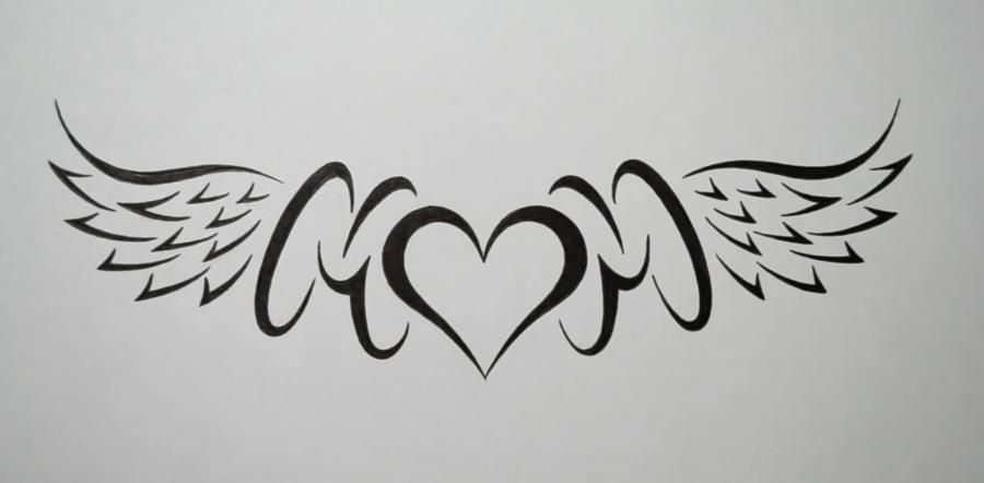 We learn to draw the word mom with wings and heart in style of a tattoo