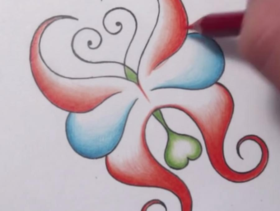How to draw an abstract butterfly with a pencil step by step